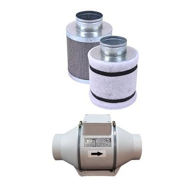فیلتر کربن 30 سانتی به همراه فن بین کانالی دمنده